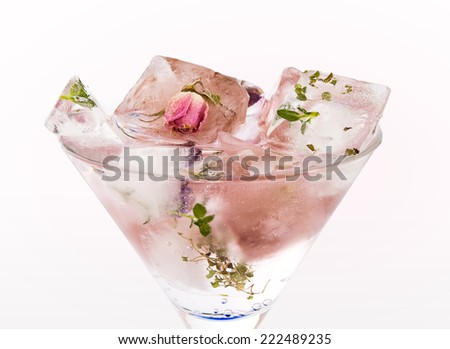Rose cocktail isolated on white - stock photo