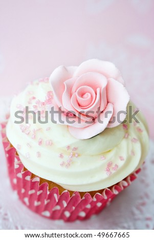 Rose cupcake - stock photo