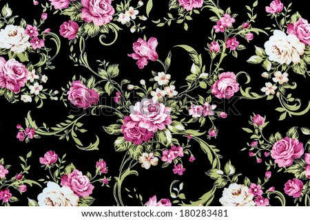 Rose Fabric background, Fragment of colorful retro tapestry textile pattern with floral ornament useful as background - stock photo