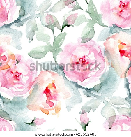 Rose fabric background. Vintage floral seamless pattern with English roses, leaves. - stock photo