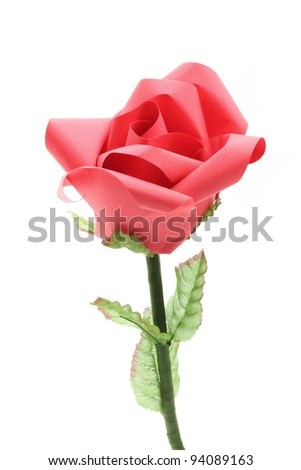 Rose Flower origami Paper Craft Isolated on white background - stock photo