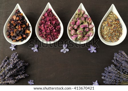 Rose flower petals and buds for aromatherapy. Dried lavender. - stock photo