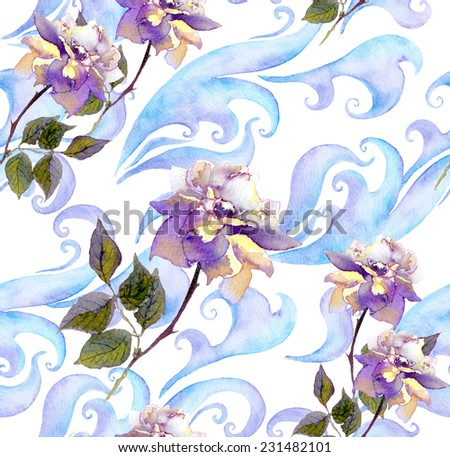 Rose flowers, scrolls and curves. Seamless winter watercolor floral pattern. Watercolor - stock photo