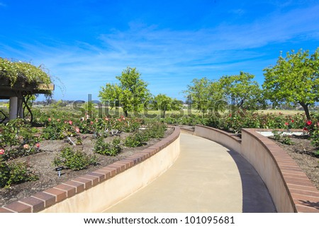 Rose garden in San Diego architectural building structure in the center. - stock photo