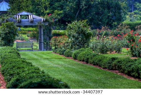 Rose Garden pathway with bench