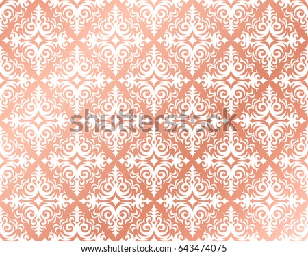 Rose Gold Background Damask Pattern Design Stock