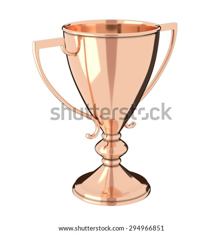 Rose gold / bronze trophy cup isolated on white background. Victory, best product, service or employee, first place concept. Achievement in sports. Isolated on white background. - stock photo