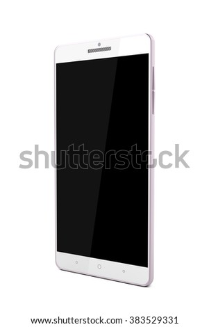 Rose gold smartphone on white background