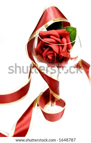 rose in a glass - stock photo
