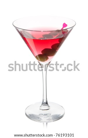 Rose Martini with olives on a white background