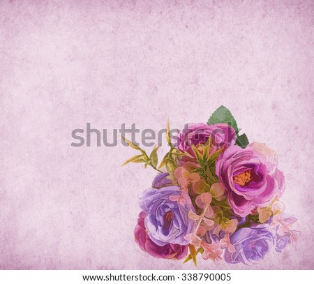 rose on Old antique vintage paper background - stock photo