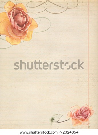 rose on old vintage paper with space - stock photo