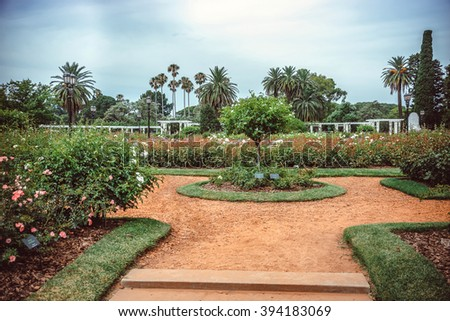 Rose Park on Parque Tres de Febrero, also known as the Bosques de Palermo (Palermo Woods), a 400 hectares urban park located in the neighborhood of Palermo in Buenos Aires, Argentina - stock photo