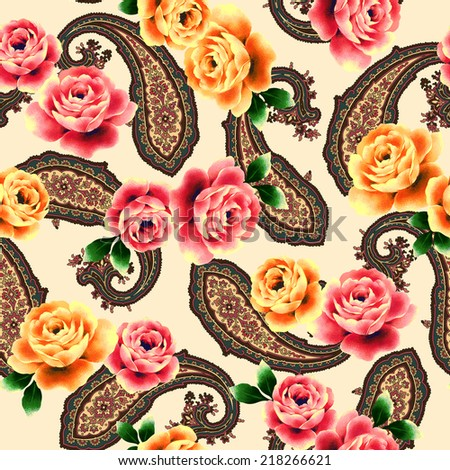rose pattern - stock photo