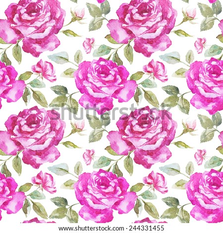 rose, pattern, watercolor,  - stock photo