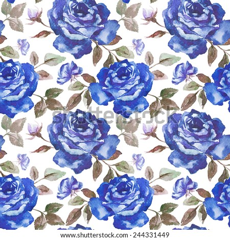 rose, pattern, watercolor, wallpaper, blue roses - stock photo