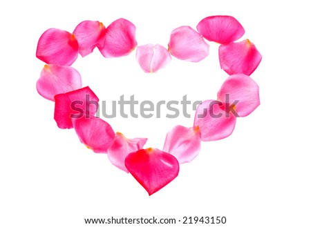 Rose petal heart shape