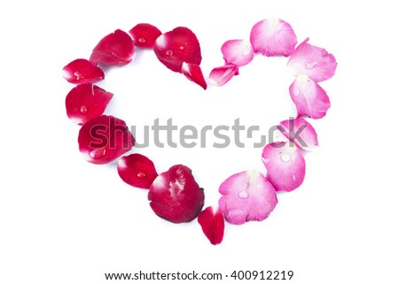 Rose petals Heart Shape isolated on white background