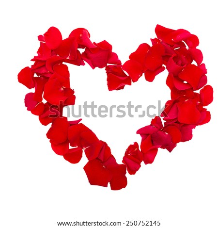 Rose petals in heart shape isolated on white background. Valentine greeting card, wedding. Top view of the square. - stock photo