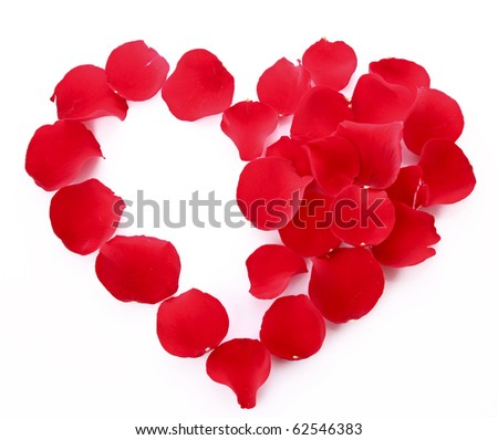 rose petals in heart symbol isolated on white