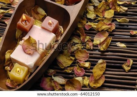 Rose petals treatment - stock photo
