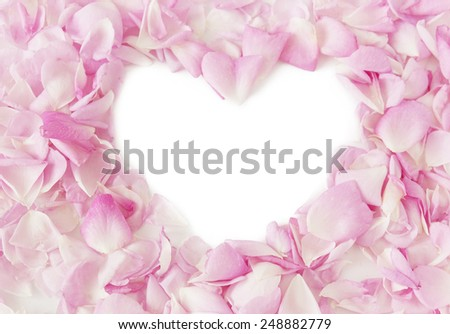 Rose petals with heart shape.Valentine's day concept - stock photo