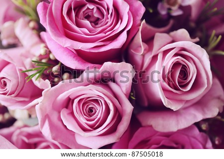 Rose Posy Wedding Bouquet - stock photo