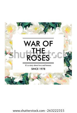 Rose print,border line with slogan artwork for fashion and other uses. - stock photo