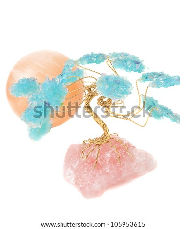 Rose quartz and  blue Crystal tree with orange mineral sun ball on the white background. - stock photo