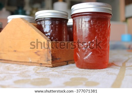 Rose rib apple jelly jars with copy space - stock photo