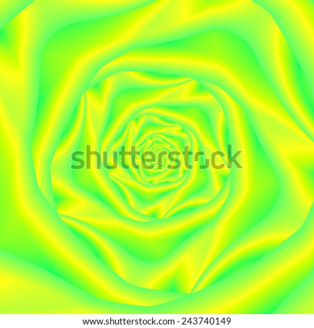 Rose Spiral in Yellow and Green / An abstract fractal image with a spiral rose design in yellow and green.