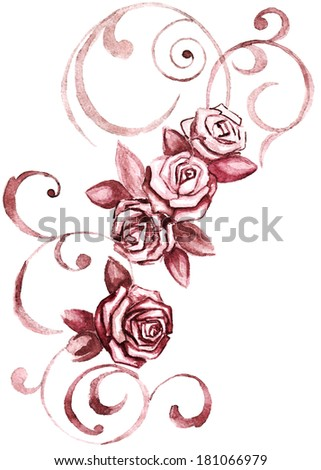 rose swirls on white background - stock photo