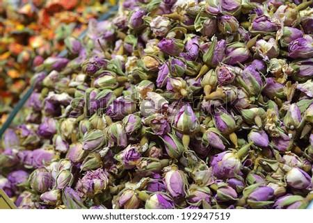 Rose tea in Egyptian Spice Bazaar, Istanbul. - stock photo