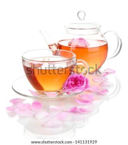 Rose tea isolated on white - stock photo