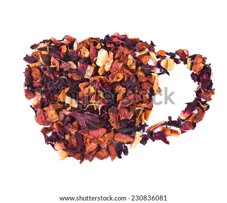 Rose tea with cup of tea shape isolated over white background  - stock photo