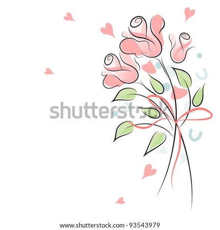 Rose wedding background with confetti - stock photo