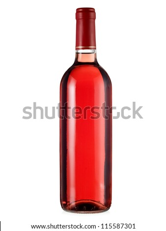 Rose wine bottle - stock photo