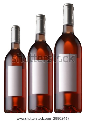 rose wine bottle - stock photo