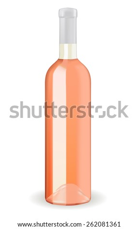 Rose wine bottle isolated on white background. Raster version - stock photo