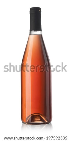 Rose wine bottle isolated on white background with clipping path