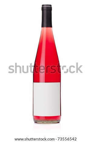 Rose wine bottle with blank label. Isolated on white - stock photo