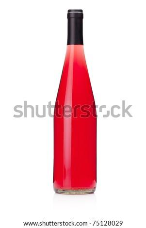 Rose wine bottle without label. Isolated on white - stock photo