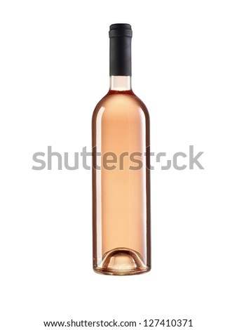 rose wine bottle without label, retouched on white background. - stock photo