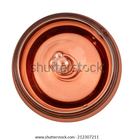 Rose wine glass, top view - stock photo