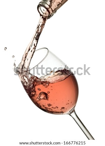 Rose wine pouring - stock photo