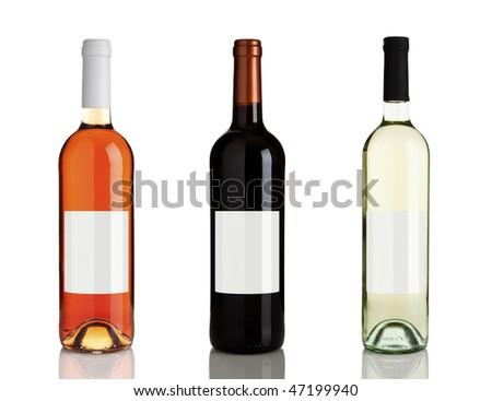 rose wine, red wine, white wine bottles isolated on white background - stock photo