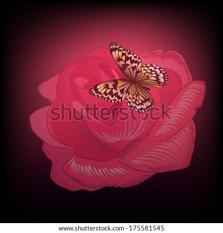 Rose with butterfly on a black background. Raster - stock photo