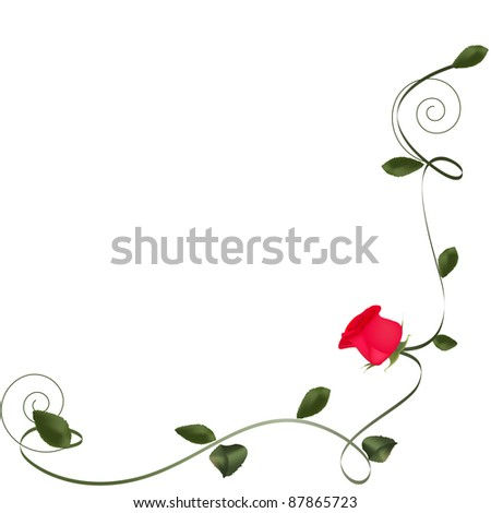 rose with floral element - stock photo