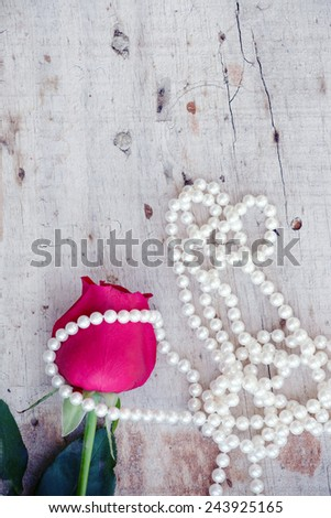 Rose with pearls  - stock photo