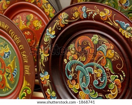 Rosemaling - The traditional Norwegian art of flower painting - souvenirs in Bergen Norway - stock photo